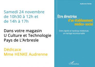 Evènement dédicace HENKE Audrenne Samedi 24 novembre